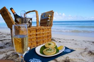 Champagne picnic hamper on Jabberwock Beach, Antigua
