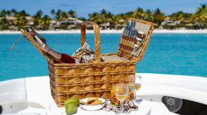 Picnic hamper with gourmet food, wine and champagne.