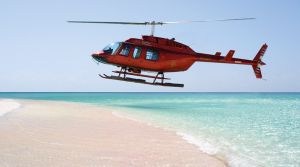 Caribbean Helicopter Service Landing in Barbuda
